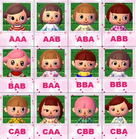 acnl face guide animal crossing new leaf visages animal crossing new