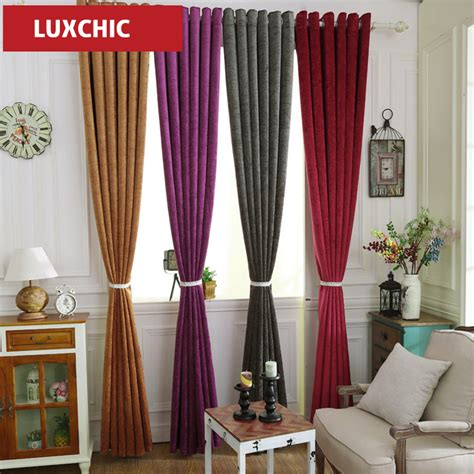 blackout kitchen curtains aliexpress buy color chenille blue thick
