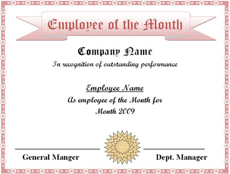 Employee Of The Month Certificate Template Word employee of the month certificate template excel xlts