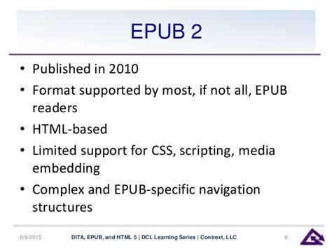 epub format structure dita epub and html5 an update for 2015