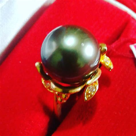 Necklace Hitam handmade gold ring with tahitian pearl cez 54 harga