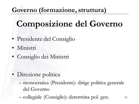 composizione consiglio dei ministri governo formazione e struttura ppt scaricare