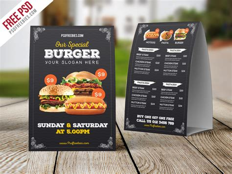 Fast Food Menu Card Templates by Fast Food Menu Table Tent Template Free Psd Psdfreebies