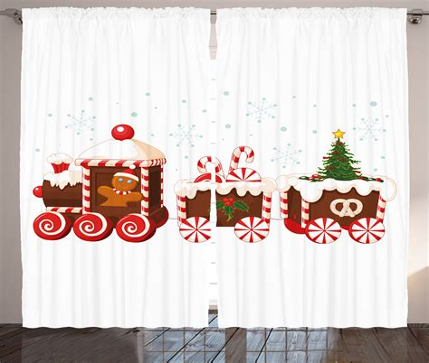 gingerbread curtains christmas curtains 2 panels set gingerbread train home
