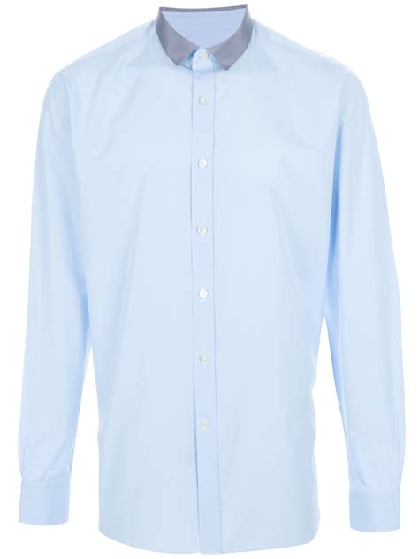 Contrast Collar Shirt lanvin contrast collar shirt in blue for lyst