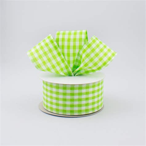 1 5 quot gingham check wired ribbon lime green white 10