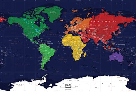 image of world map with continents oceans world political map wall mural miller projection