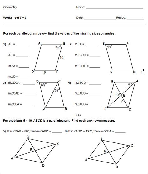 Math Worksheets High School by 16 Sle High School Geometry Worksheet Templates Free