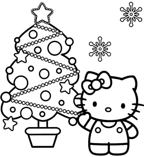christmas coloring pages kitty hello kitty and christmas tree coloring page coloring