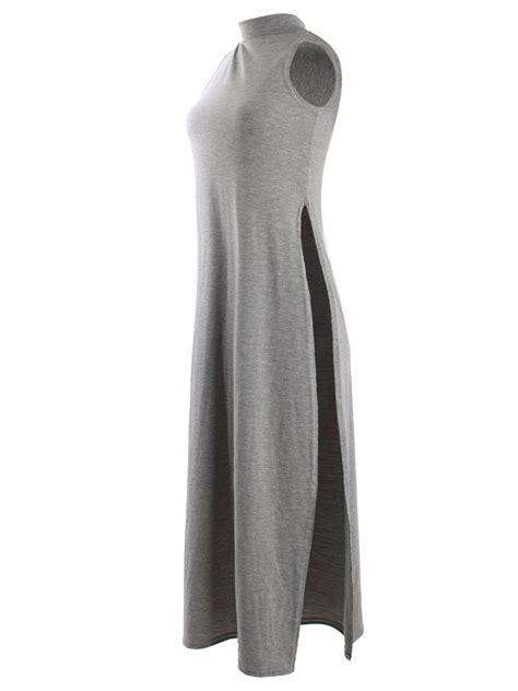Midi Slit Tunik high split side top midi jersey slit tunic maxi sleeveless vest ebay