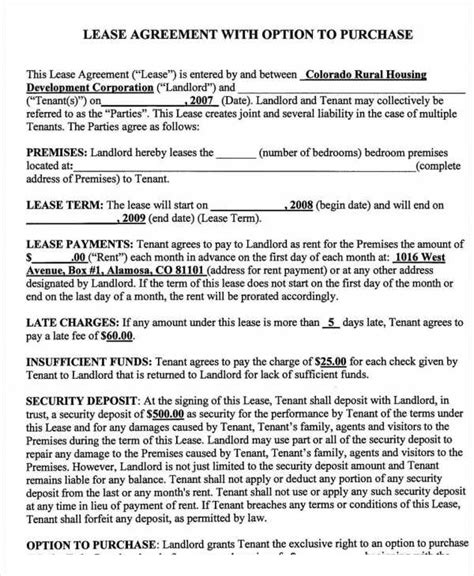 rent to own template rent to own contract templates 5 free word excel pdf