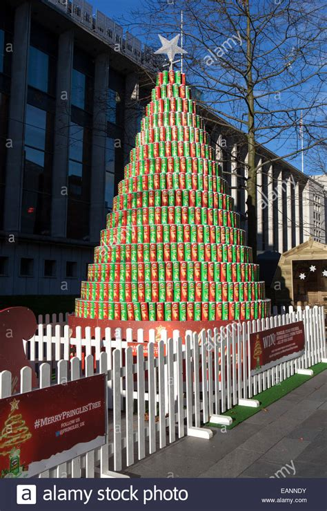 the pringles crisps pyramid tower shaped like a xmas tree