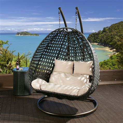 outdoor patio swing chair 2 seater garden swing hanging chair black rattan cream