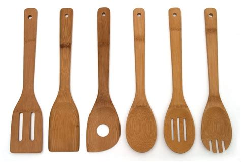 6 set bamboo utensil kitchen wooden cooking tools