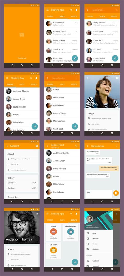 mobile app layout template 25 best ideas about android app design on