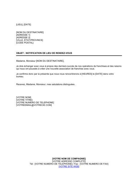 Exemple De Lettre Demande De Franchise Notification De Confirmation De Lieu De Rendez Vous Template Sle Form Biztree