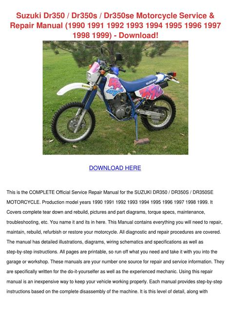 Suzuki Dr350 Dr350s Dr350se Motorcycle Servic By