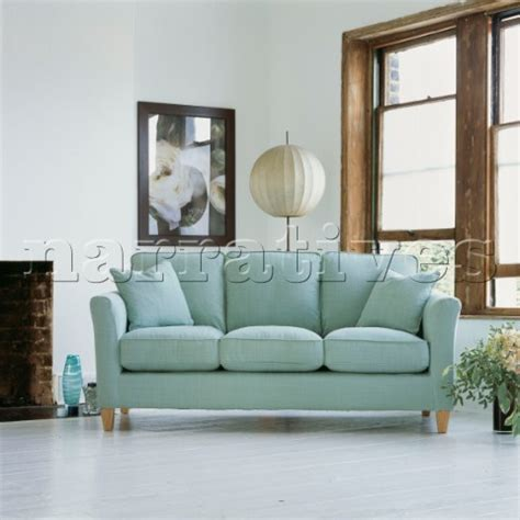 Jbh0510 Pale Blue Sofa In Living Room With White Pai