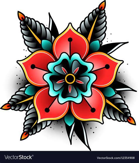 old school flower tattoos school flower royalty free vector image