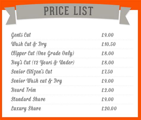 bar price list template bar price list template free filecloudiphone