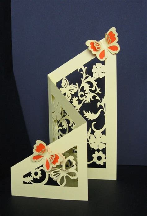 Tri Fold Floral Butterfly Cut Out Card Template Card Cut Out Template