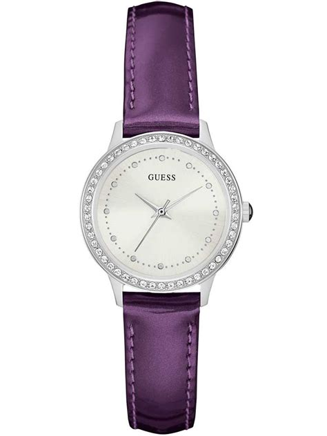 guess chelsea purple leather w0648l10