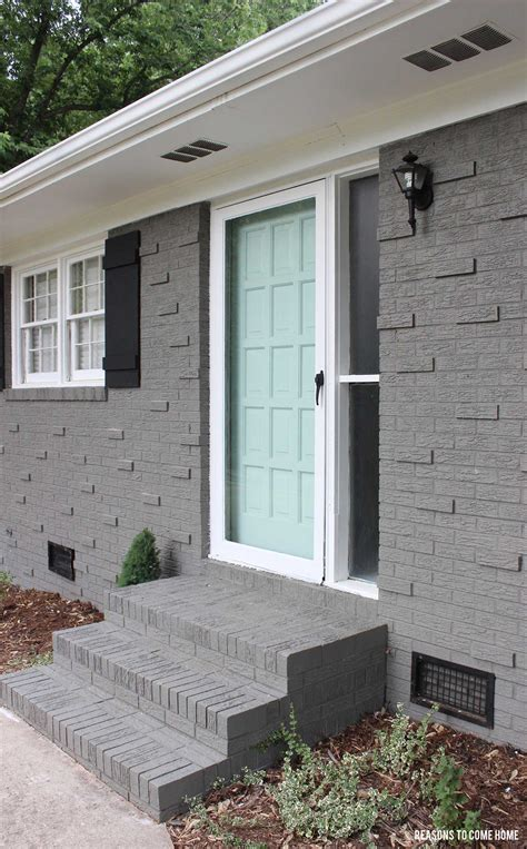 grey painted brick house sherwin williams quot gauntlet gray quot brick quot waterscape quot door paint colors
