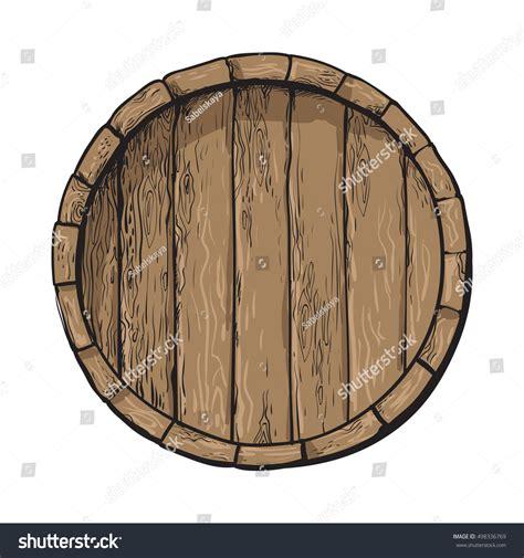 Barrel Top top view wooden barrel sketch style stock vector 498336769