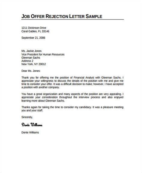 Rejection Letter Candidate Sle rejection letter template 28 images rejection letter