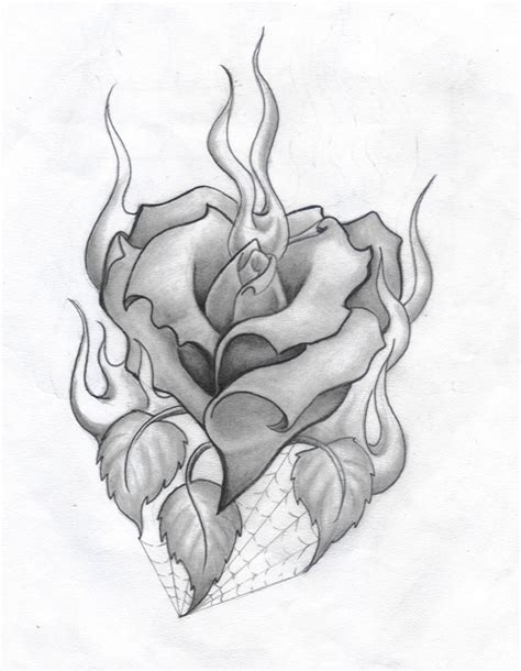 drawing of a rose and heart drawing art library