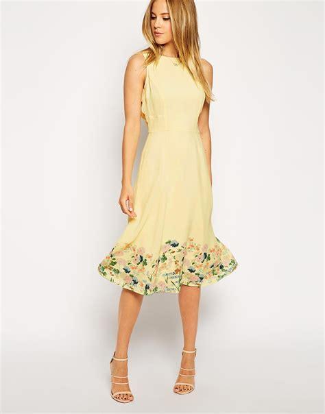 Flower Midi Dress W7989uio I asos midi dress in botanical border print in yellow lyst