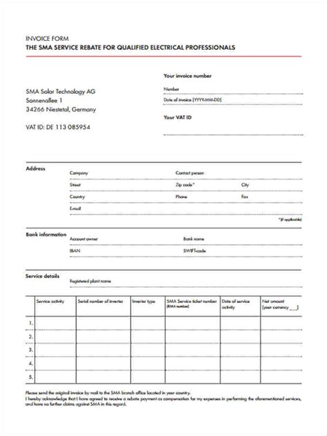 printable invoice forms printable invoice forms 7 free documents in word pdf
