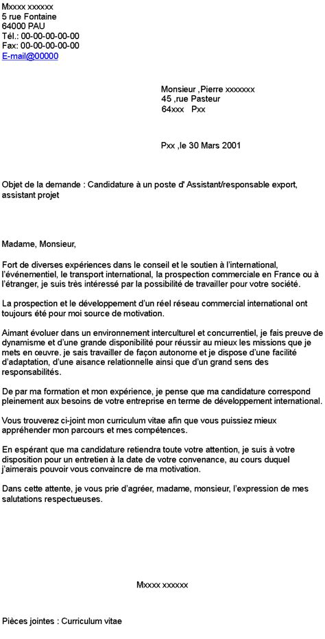 Lettre De Motivation Responsable De Zone Candidature 224 Un Poste D Assistant Responsable Export Assistant Projet