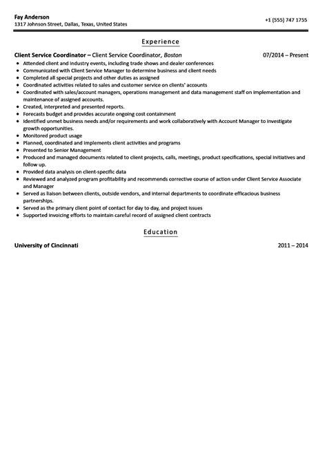 Coordinator Resume by Client Services Coordinator Resume Sle Velvet