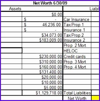 personal net worth statement template word document presentation