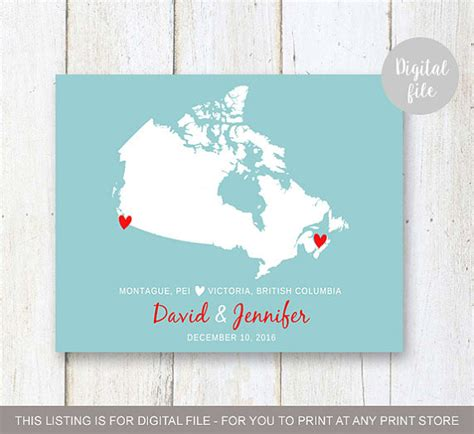 canadian map gifts canada map wedding gift print anniversary gift for him