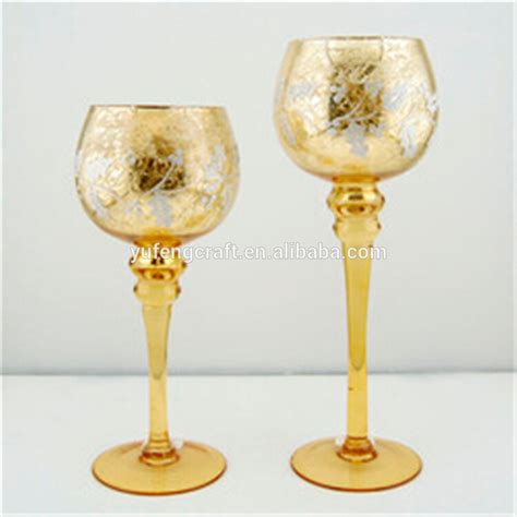 Glass Goblet Candle Holders Mercury Glass Tealight Candle Holders Three Sizes