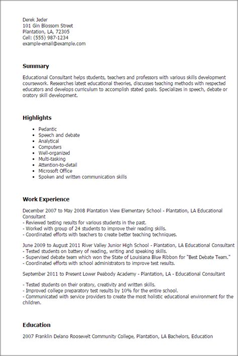 Learning And Development Consultant Cover Letter by 1 Educational Consultant Resume Templates Try Them Now Myperfectresume