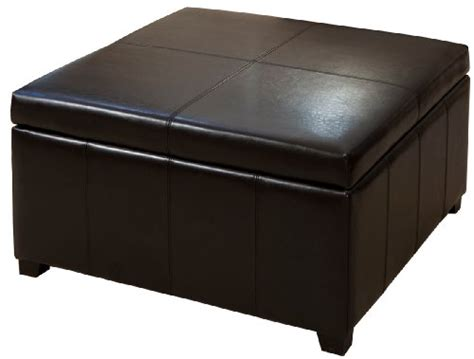 best forrester brown leather square storage ottoman