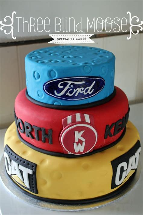 ford kenworth cat  birthday cake male bright simple cake   blind moose specialty