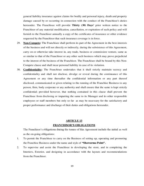 franchise agreement template free franchise agreement sle template free