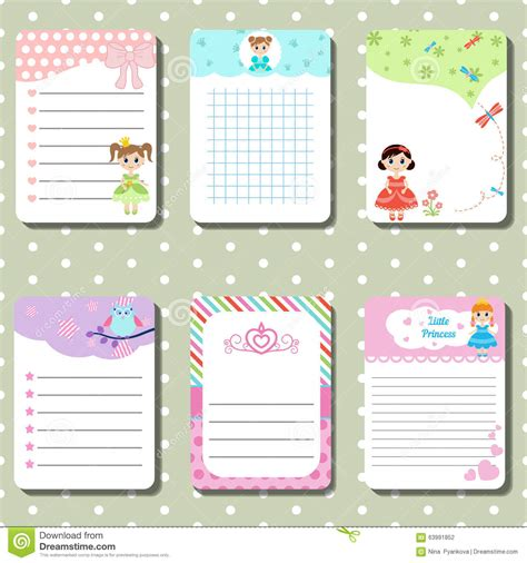 small card template kawaii cards notes with princess theme design stock vector