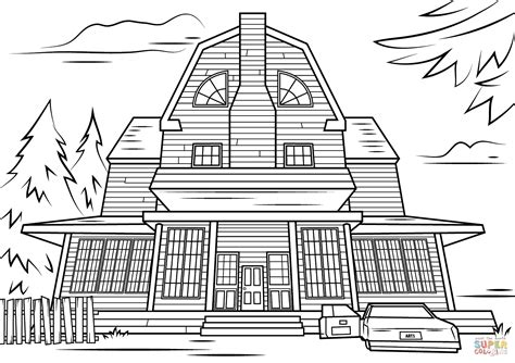 haunted house coloring pages scary haunted house coloring page free printable