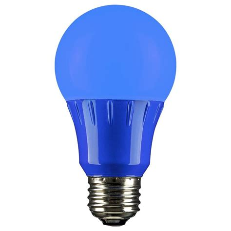 blue led a19 120 volt e26 medium base party light bulb