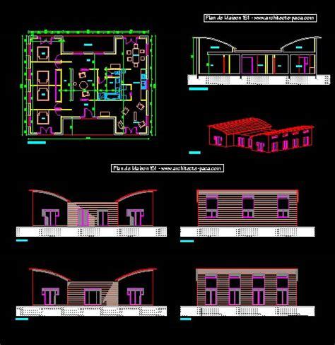 plan maison format dwg gratuit plan maison bois bbc de 5 pi 232 ces villad architecte 151