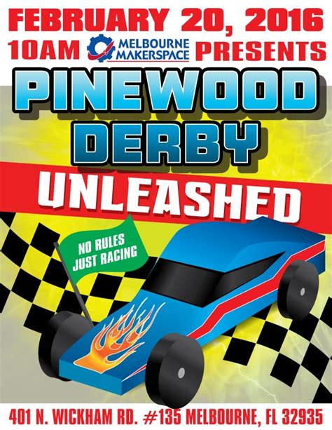pinewood derby flyer template pinewood derby unleashed race recap melbourne makerspace