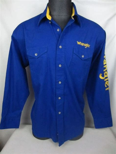 Blue Western Shirt wrangler western shirts s blue yellow button front