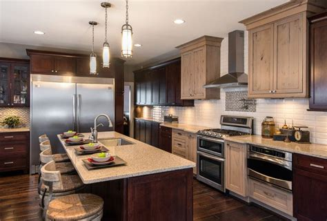 different colored kitchen cabinets comfortable as well as luxurious this kitchen utilizes