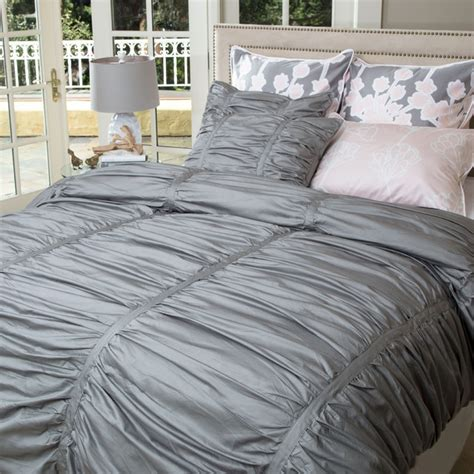 gray twin bedding twin twin xl gray ruched duvet set the mirabel gray