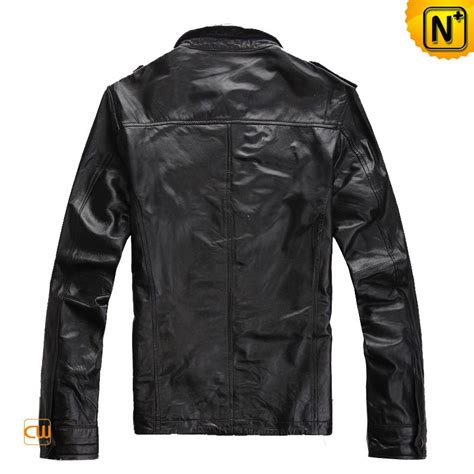 epaulet design jacket men s epaulet design slim black leather jacket cw872190